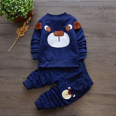 baby boys girls outfits tracksuit pullover top+pants Kids boy clothes set  bear 11