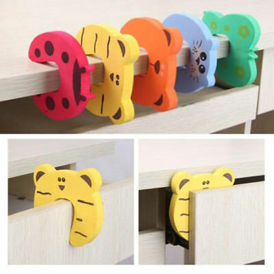 5/10pcs Baby Safety Cartoon Gate Card Security Door Stopper Protector Clip Clamp 4