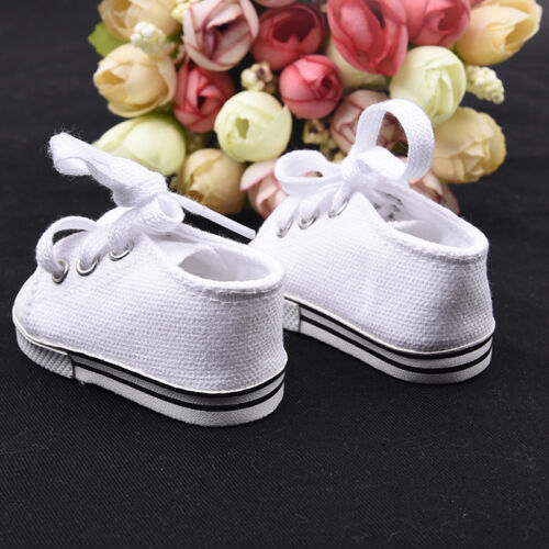 Handmade Canvas White Shoes for 18inch Doll Cute Baby Kids Toys 7