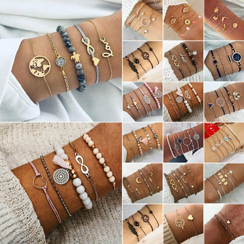 Fashion Women Jewelry Set Rope Natural Stone Beaded Chain Alloy Bracelets Gifts 3