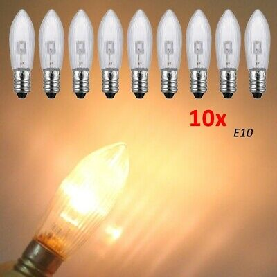 10Stk LED E10 10-55V AC Topkerzen Riffelkerzen Spitzkerzen Ersatz Lichterkette 3
