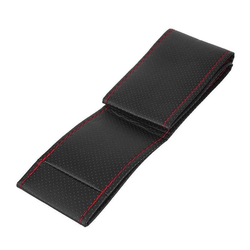 Coprivolante per auto in pelle nera e rossa fai da te 38 cm con ago e filo BHQ 4