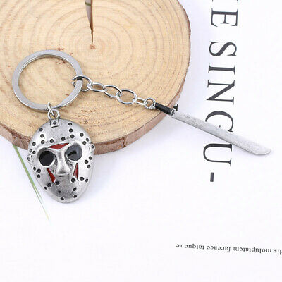 Friday the 13th Jason Voorhees Hockey Mask Kinfe Keychain Metal Keyring Jewelry 8
