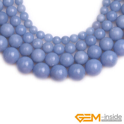 """Natural Blue Angelite Stone Round Loose Beads for Jewelry 15"""" 6mm 8mm 10mm 12mm 3"""