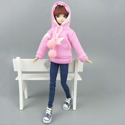 """Pink Star Sweatshirt Coat For 11.5"""" 1/6 Doll Clothes Outfits Pants Canvas Shoes 3"""