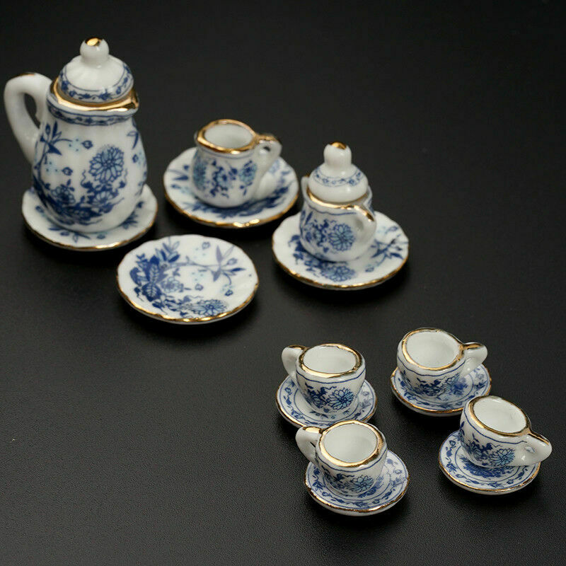 15Pcs Dining Ware Ceramic Blue Flower Set For 1:12 Miniatures Dollhouse A2X8 5