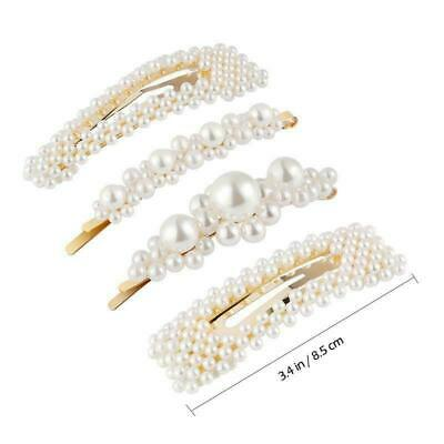 Pearl Acrylic Crystal Hair Clip Slide Hair Pin Barrette Bridal Hair Accessories 11