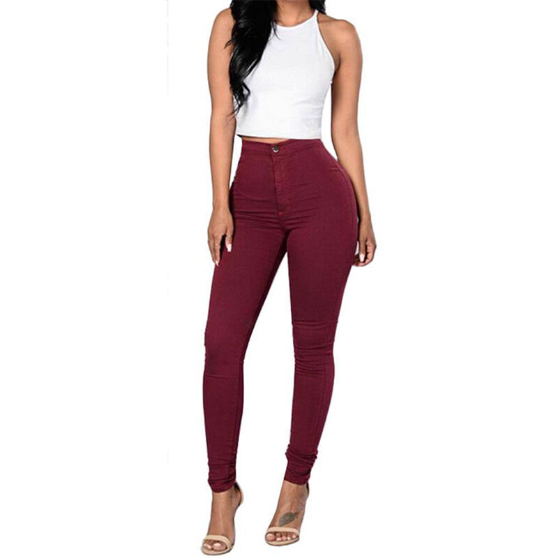 Women Stretch Pencil Pants High Waist Skinny Jeggings Jeans Casual Slim Trousers 4