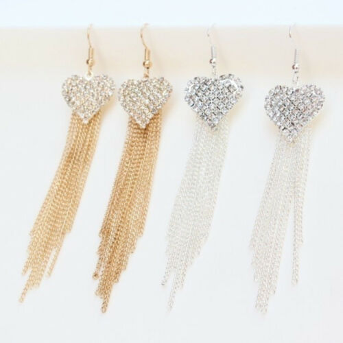 Chic Ladies Love Heart Shape Tassel Earrings Anniversary Party Jewellery one 6