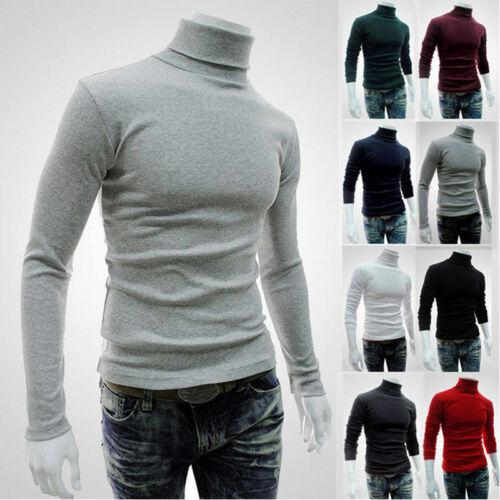 Men High Neck Pullover Turtleneck Long Sleeve Stretch Slim Basic T Shirt Tee Top 2