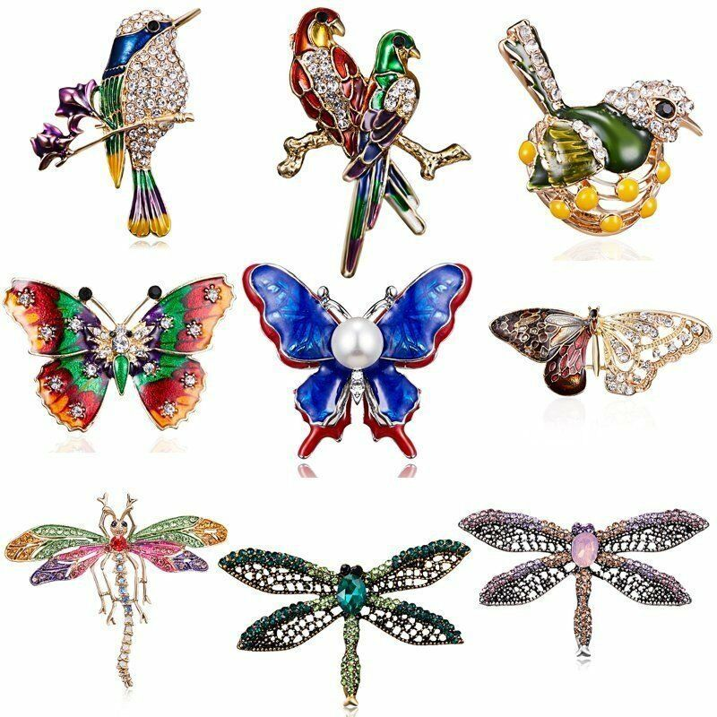 Crystal Pearl Animal Dragonfly Butterfly Cat Brooch Pin Wedding Bridal Jewellery 7