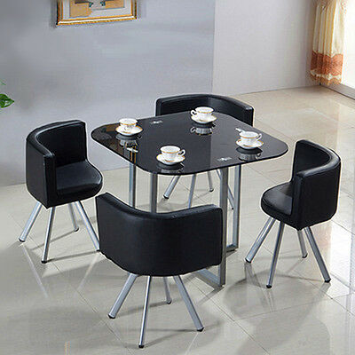Black Contemporary Dining Set With Round Table And 4 Chairs Kitchen Furniture