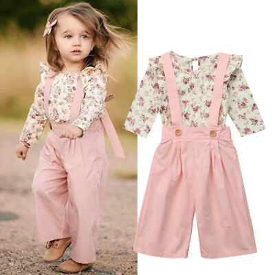 2PCS Toddler Kids Baby Girl Winter Clothes Floral Tops+Pants Overall Outfits AU 5