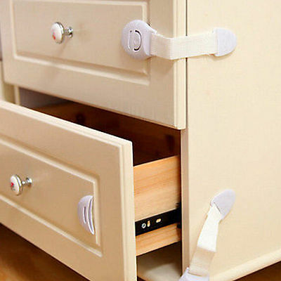 10Pc Baby Kids Child Adhesive Safety Lock For Cabinet Door Drawers Refrigerator~ 9