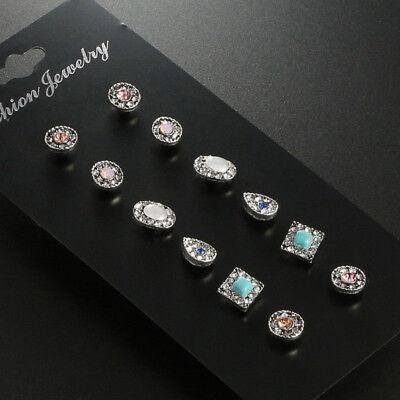 Fashion Rhinestone Crystal Pearl Earrings Set Women Ear Stud Jewelry 12 Pairs