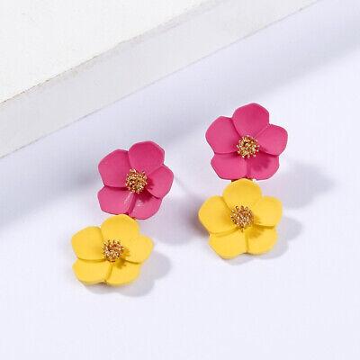 Fashion Crystal Women Flower Drop Dangle Earrings Ear Stud Jewelry Double Layer 7