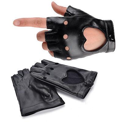 Women Punk Leather Driving Biker Fingerless Mittens Dance Motorcycle Gloves V_MR 2
