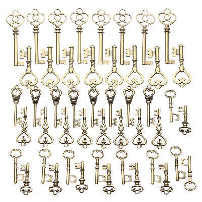 AUS 125x Bronze Keys Vintage Royal Antique Old Look Skeleton Heart Bow Shape 5