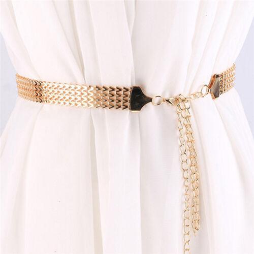Mode Elegant Welle Metall Taille Kette Gürtel Gold Schnalle Körper Kleid Gürt WR