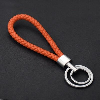 Two Circle Multi-Color Leather Rope Strap Weave Key ring Key chain KeyFob Gift 12