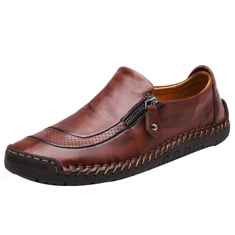Men Zip Up Loafers Oxfords Moccasins Smart Office Work Slip On Casual Shoes Size 5
