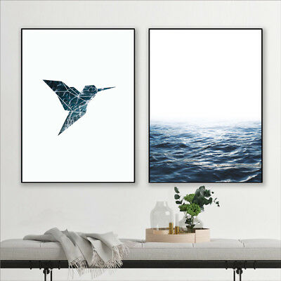 Blue Ocean Geometric Artwork Bird Canvas Painting Sea Waves Wall Print Art Decor 3