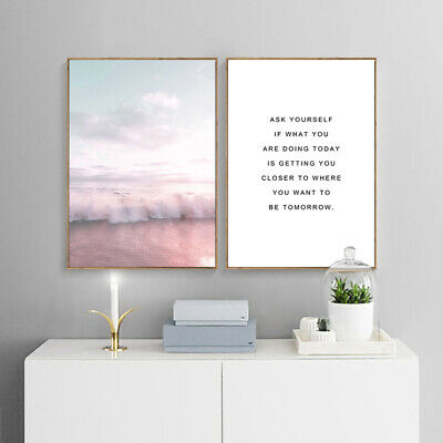 Pink Bus Beach Wall Art Canvas Poster Nordic Style Print Picture Home Decoration 3