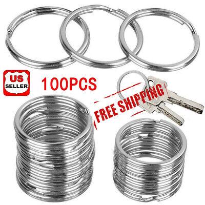 100Pcs Key Rings Chains Split Ring Hoop Metal Loop Steel Accessories 25mm |USA 2