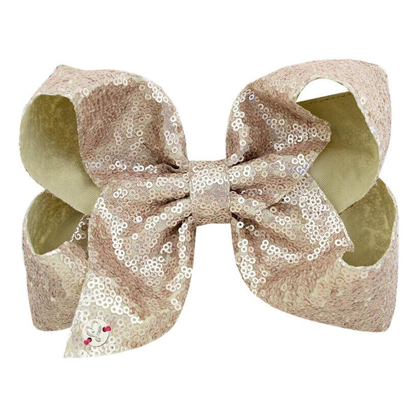 8 Inch Kids Girls Baby Glitter Sequin Cute Bowknot Hair Clips Hair Bows Hairpins 9