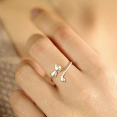 Fashion Lovely Cat Kitten Women Lady Jewelry Opening Adjustable Ring Party Gift 2