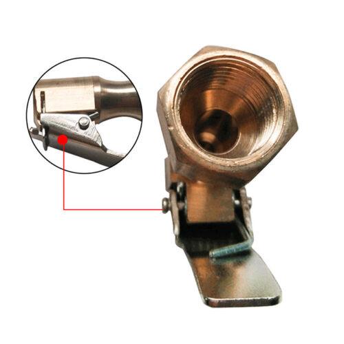 Straight Brass Car Tire Inflator Valve Stem Connector Air Chuck Lock On Clip XS