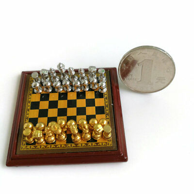 Dollhouse Miniature 1:12 Toy Metal Silver & Golden Chess and Board Set Play Game 12