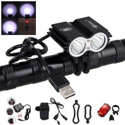 SolarStorm 8000LM 2 X XML T6 LED USB Lamp Bicycle Headlight 4x18650 Bike Light Q