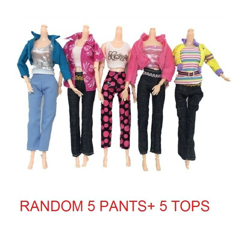 5PCS of TOPS + 5PCS pants fashion dress summer clothes for BARBIE DOLL LOVELY UK 2