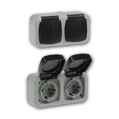 Feuchtraum Set Steckdosen Wechselschalter Aufputz AP Steckdose Schalter IP 44
