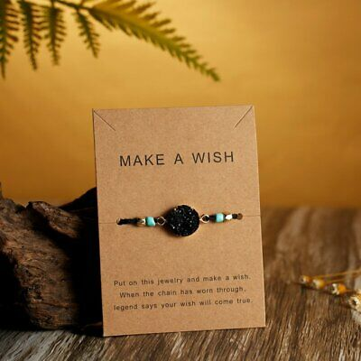Handmade Natural Stone Rope Bracelet Bangle Friendship Couple Card Jewelry Gifts 6