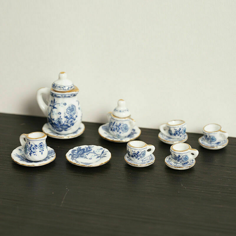 15Pcs Dining Ware Ceramic Blue Flower Set For 1:12 Miniatures Dollhouse A2X8 6