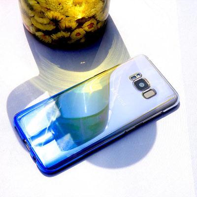For Samsung Galaxy S8 S9 Plus Note 8 Aurora Gradient Color Transparent Slim Case 3