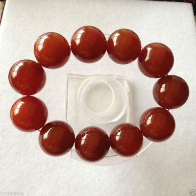 100% pure natural red jade jade bead bracelet 20mm 3
