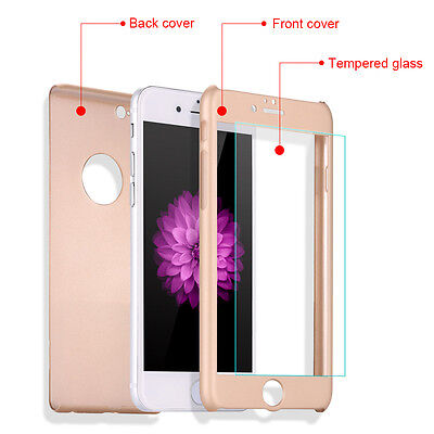 Hybrid 360° Shockproof Case Tempered Glass Cover For Apple iPhone 7 Plus 5s 6s 5