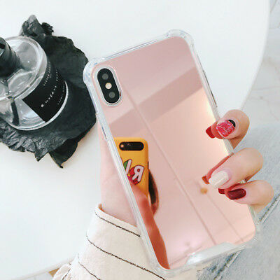 For iPhone 8 X 7 6S Plus XS Shockproof Armor Luxury Mirror Hard Back Case Cover 5