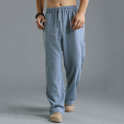 INCERUN Mens Casual Cotton Linen Baggy Yoga Beach Loose Pants Chinese Trousers
