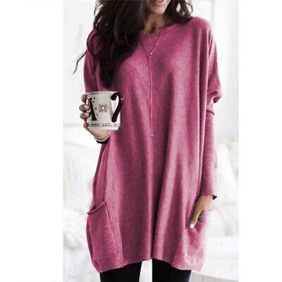 Women Long Sleeve Pocket Autumn Tunic Tops Loose Casual Blouse T-Shirt Plus Size 5