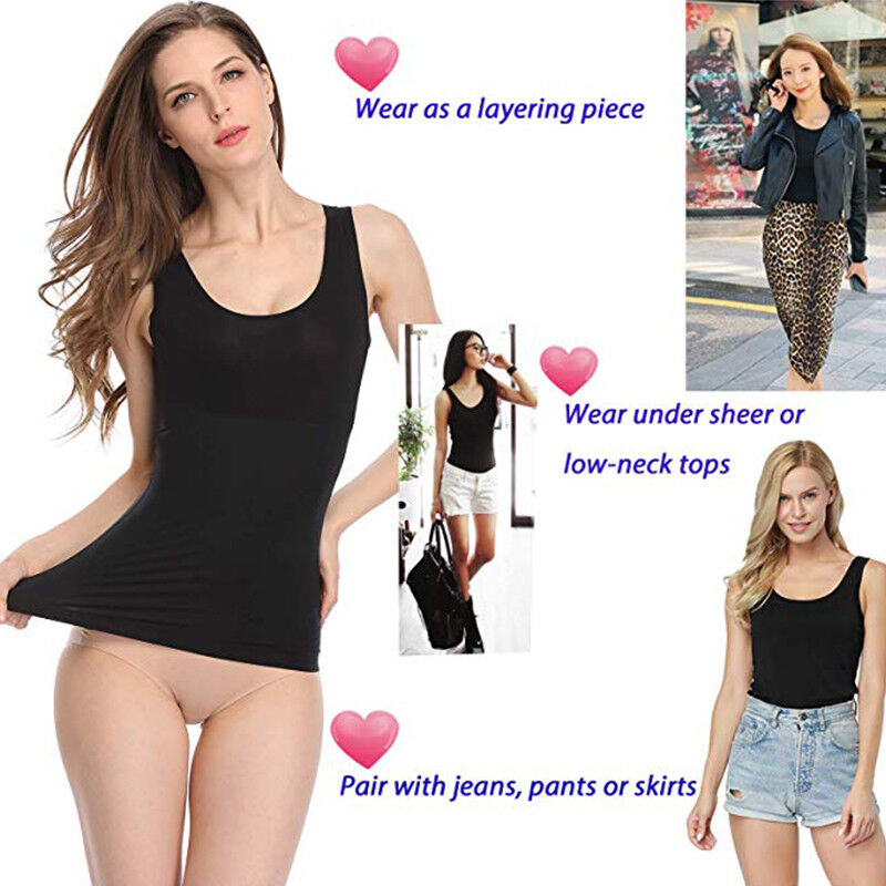 bf8a31e40269c Padded Shapewear Women Tank Top Body Shapers Seamless Cami Compression Genie  Bra 4 4 of 12 See More