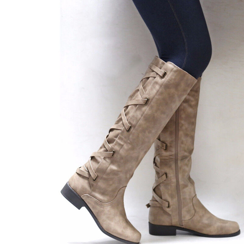 b1499502335 US Womens Winter Mid Calf Leather Flat Knee High Boots Ladies Riding Biker  Shoes 10 10 of 12 ...