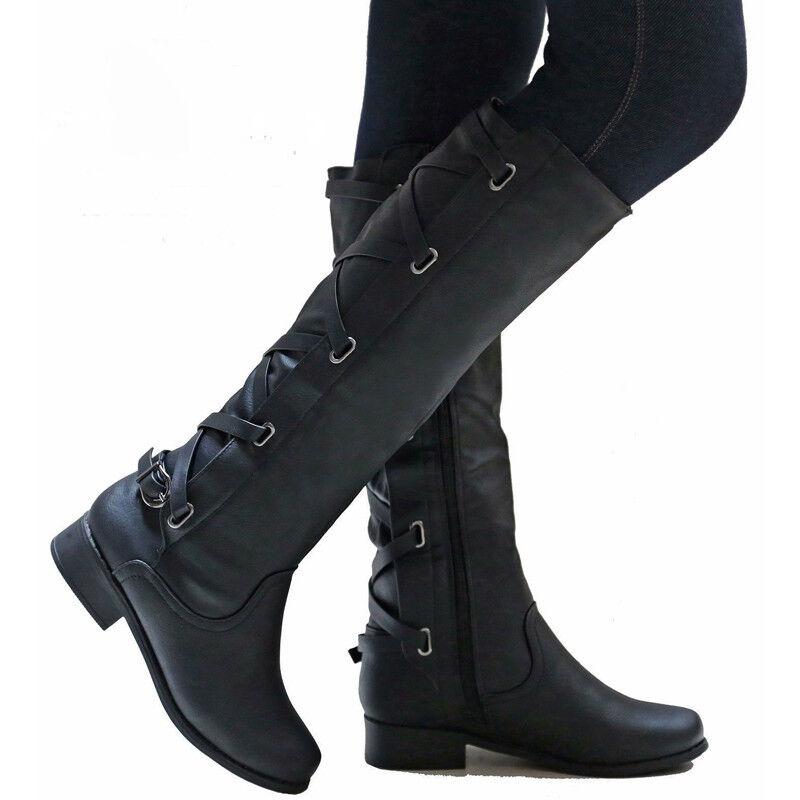 Damen Flach Stiefel Boots Stiefeletten Niedrig Kniehohe OZiTkXuP
