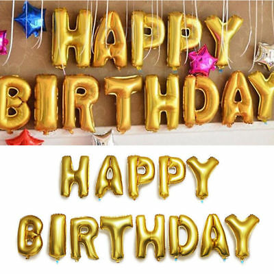 20d1ada58d4eb SELF INFLATING HAPPY Birthday Banner Foil Balloon Bunting Gold Silver  Letters