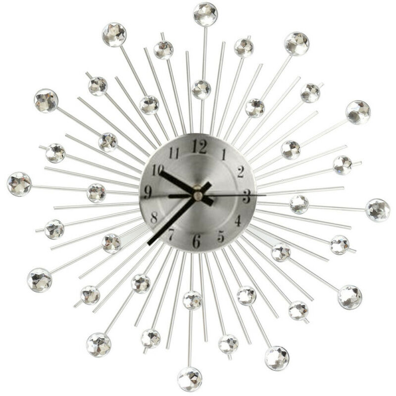 33cm Living Room Diamante Beaded Crystal Jeweled Sunburst Wall Clock Home Decor 3