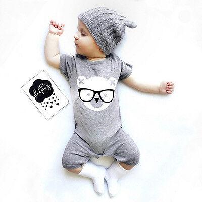 Newborn Baby Boys Girls Bear Summer Romper Jumpsuit Bodysuit Clothes Outfit 0-24