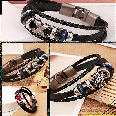 Brilliant  Punk Unisex Women Men Wristband Metal Studded Leather Bracelet 5